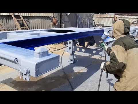 #Пескоструйная очистка Прицепа контейнеровоза с покраской.