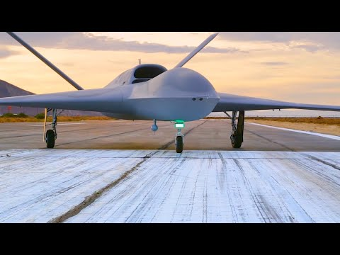 General Atomics - MQ-25 Stingray Autonomous UAS Tanker Flight Deck Taxi Testing [1080p]