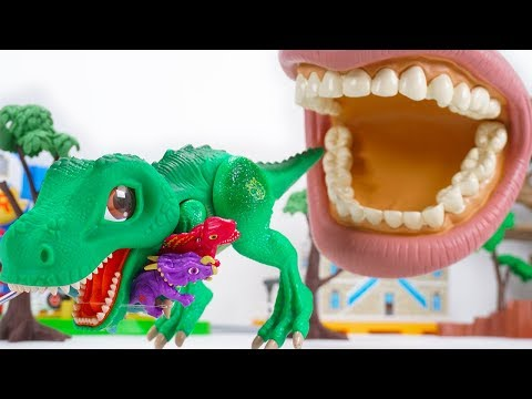 Dino Mecard Tyrannosaurus Einiosaurus Dimetrodon Brachiosaurus Stegosaurus Run from Big Mouth