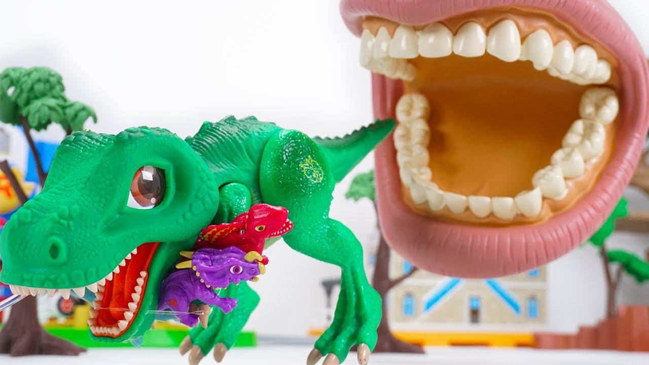 Dino Mecard Tyrannosaurus Einiosaurus Dimetrodon Brachiosaurus Stegosaurus Chạy từ miệng lớn