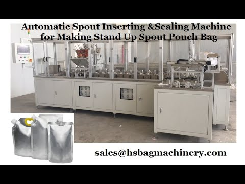 Automatic Spout Inserting Sealing Machine For Stand Up Pouch Bag Making