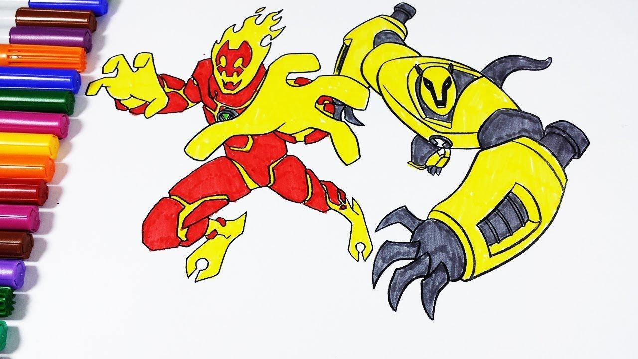 Coloring Pages Ben 10 Heatblast Armodrillo Ben 10 Omniverse Ben 10