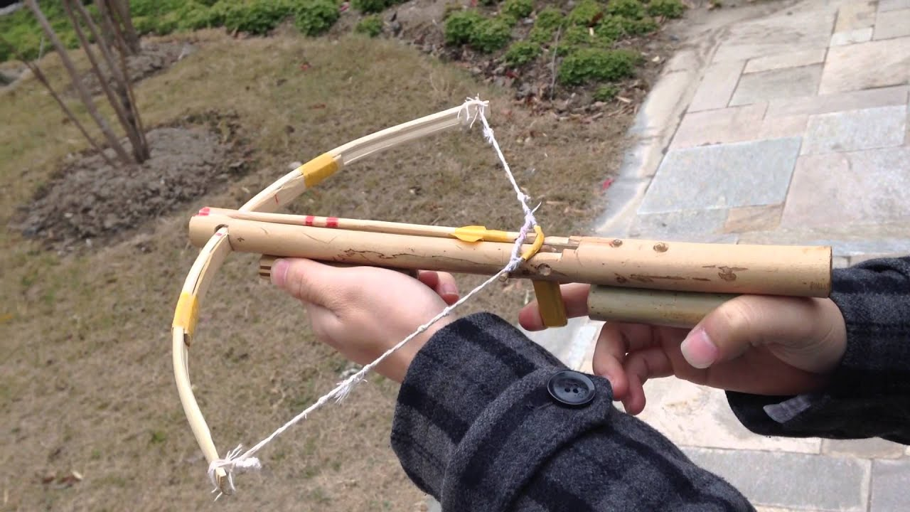 Shooting bamboo made crossbow with chopsticks arrow for Making bamboo things