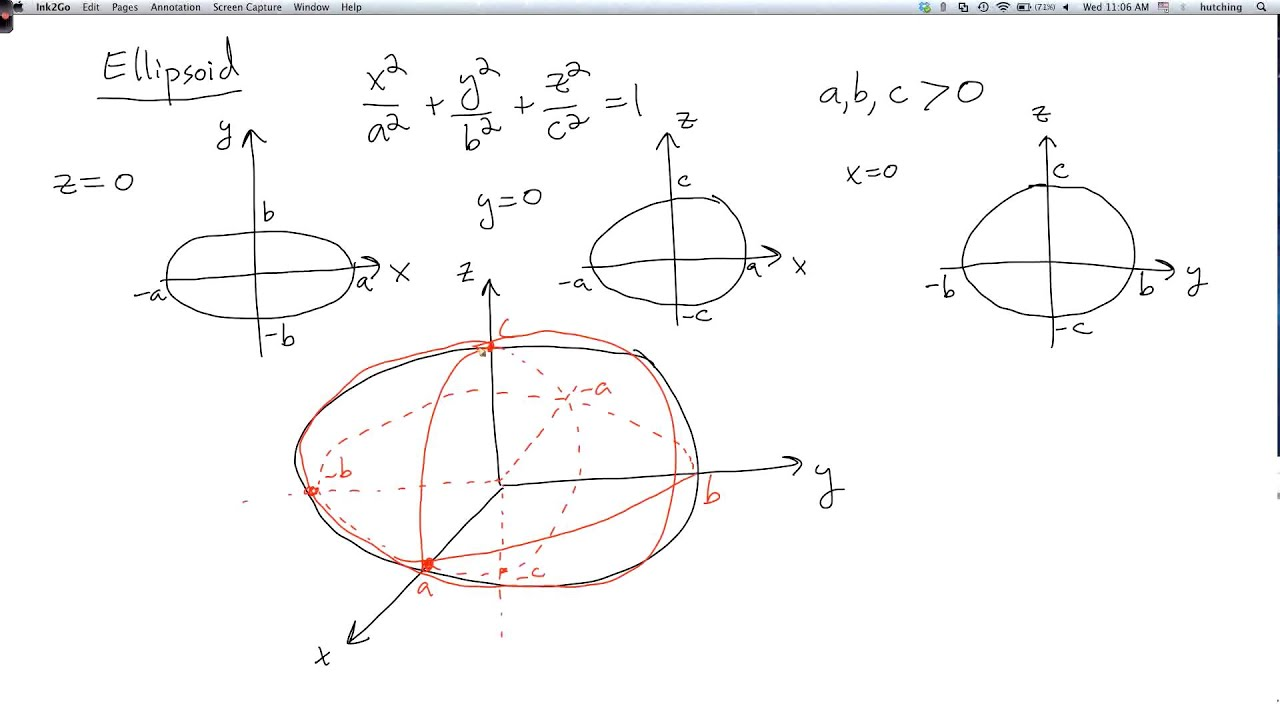 Multivariable calculus 1.4.3: Quadric surfaces 1: ellipsoid ...