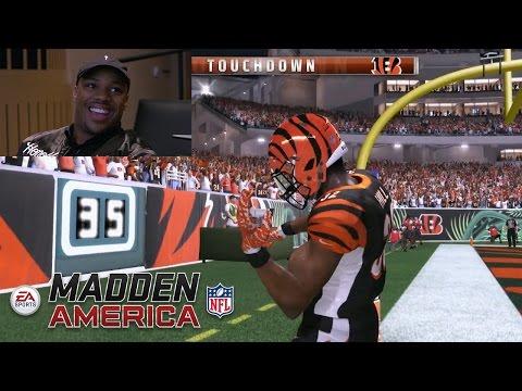 Bengals RB Jeremy Hill Plays Madden NFL 17 Skills vs. Dave Grunfeld | Madden NFL America