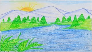 lake drawing draw mountain easy step drawings very mountains pencil painting superior outline paper paintingvalley