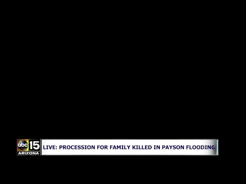 WATCH LIVE: LONG FUNERAL PROCESSIprocession for 10 people killed in flash flood near Payson, Arizona