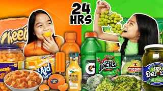 We Only Ate GREEN FOOD & ORANGE FOOD For 24 HOURS Challenge!