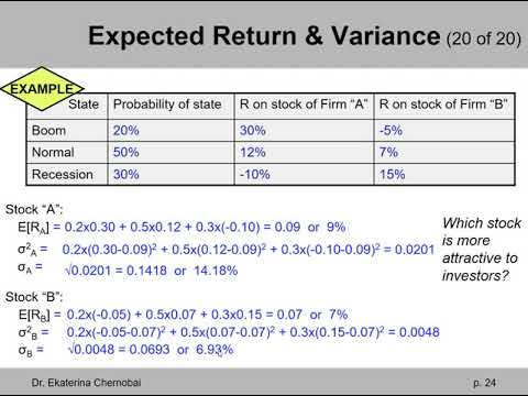 (7 of 20) Ch.13 - Calculation of expected return, variance, & st. dev.: example with 2 stocks