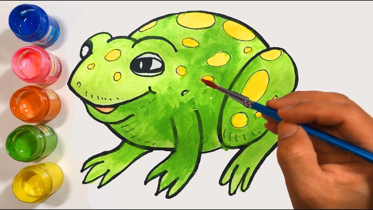 Vẽ và tô màu con ếch | Menggambar dan Mewarnai Katak | Belajar Menggambar dan Mewarnai