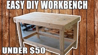 In this video I show you how I made this easy Workbench/ table saw out feed table for under $50. Material list - 8 - 2x4 at stud length