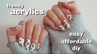 how I do trendy acrylics at home, easy and affordable!