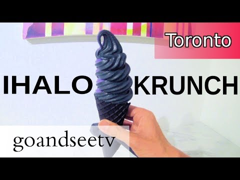 IHALO KRUNCH ~ Black CHARCOAL soft serve ice cream?? - Toronto Canada Travel Guide SEE TORONTO NOW!!