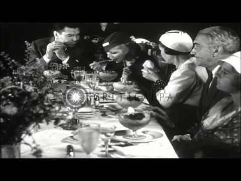 Elliott Roosevelt marries Ruth Googins, July 22nd and Jack Dempsey marries Hannah...HD Stock Footage