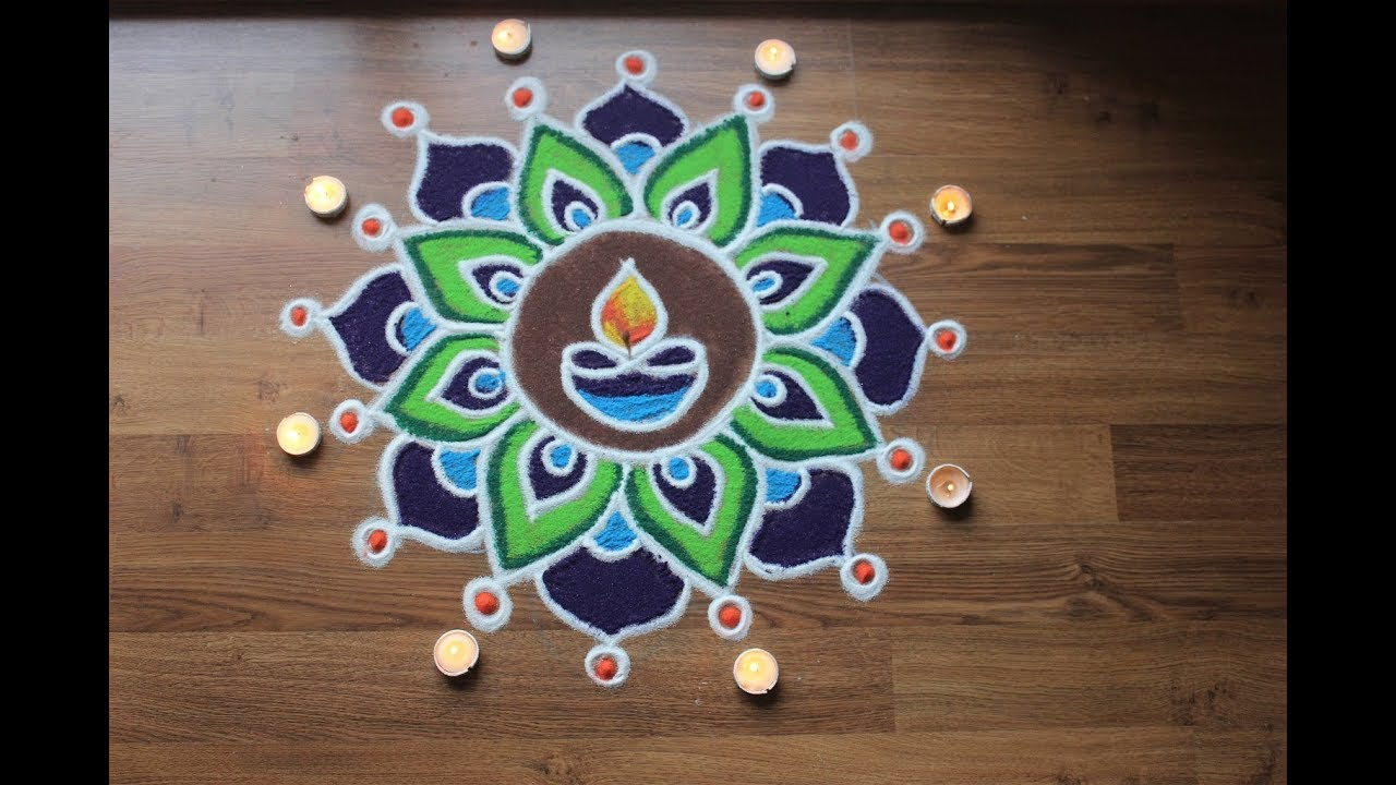 Simple freehand diwali rangoli designs with colours - YouTube