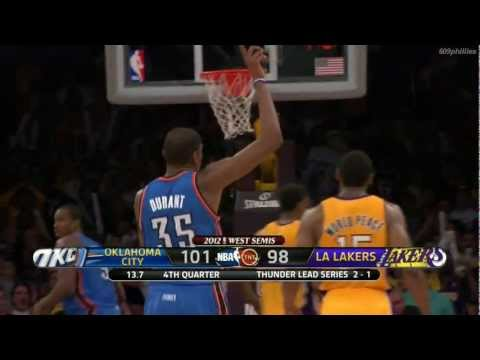 Kevin Durant Game winning 3 vs Lakers WCSF 2012 Game 4