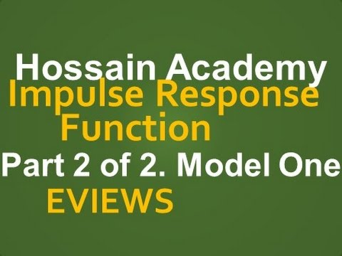 Impulse Response Function  Model One  Part 2 of 2  EVIEWS