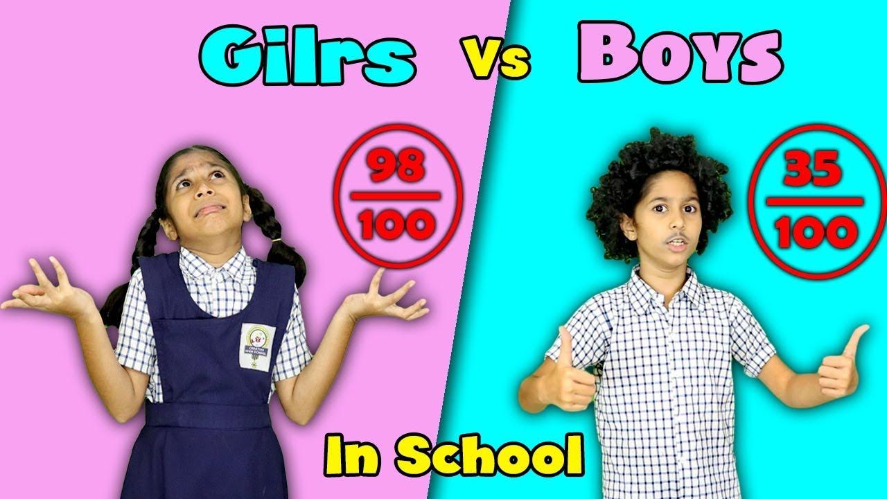 Girls Vs Boys In School Funny Video   Pari's Lifestyle Moral Story