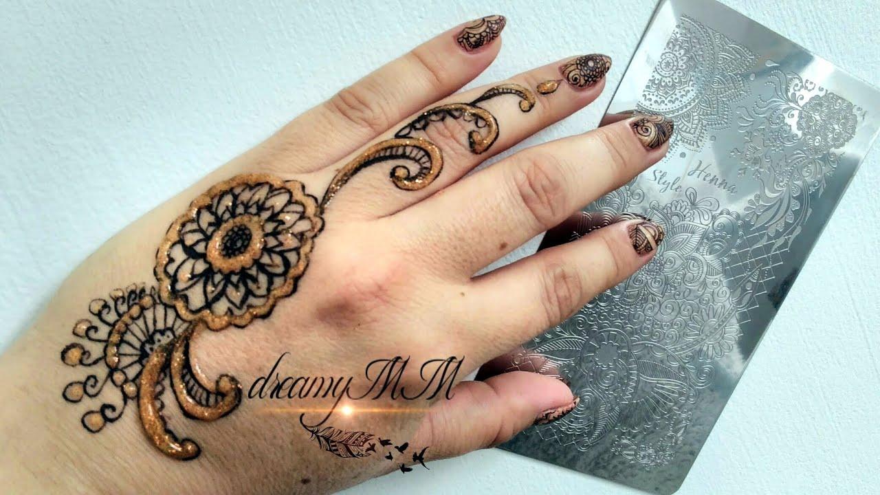 Henna Mehndi Nail Art : Henna nail art using ejiubas babygirl stamping plate review
