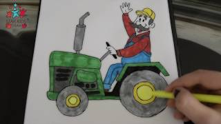 How to Draw Farmer driving a tractor for Kids - Drawing and Coloring Step by Step