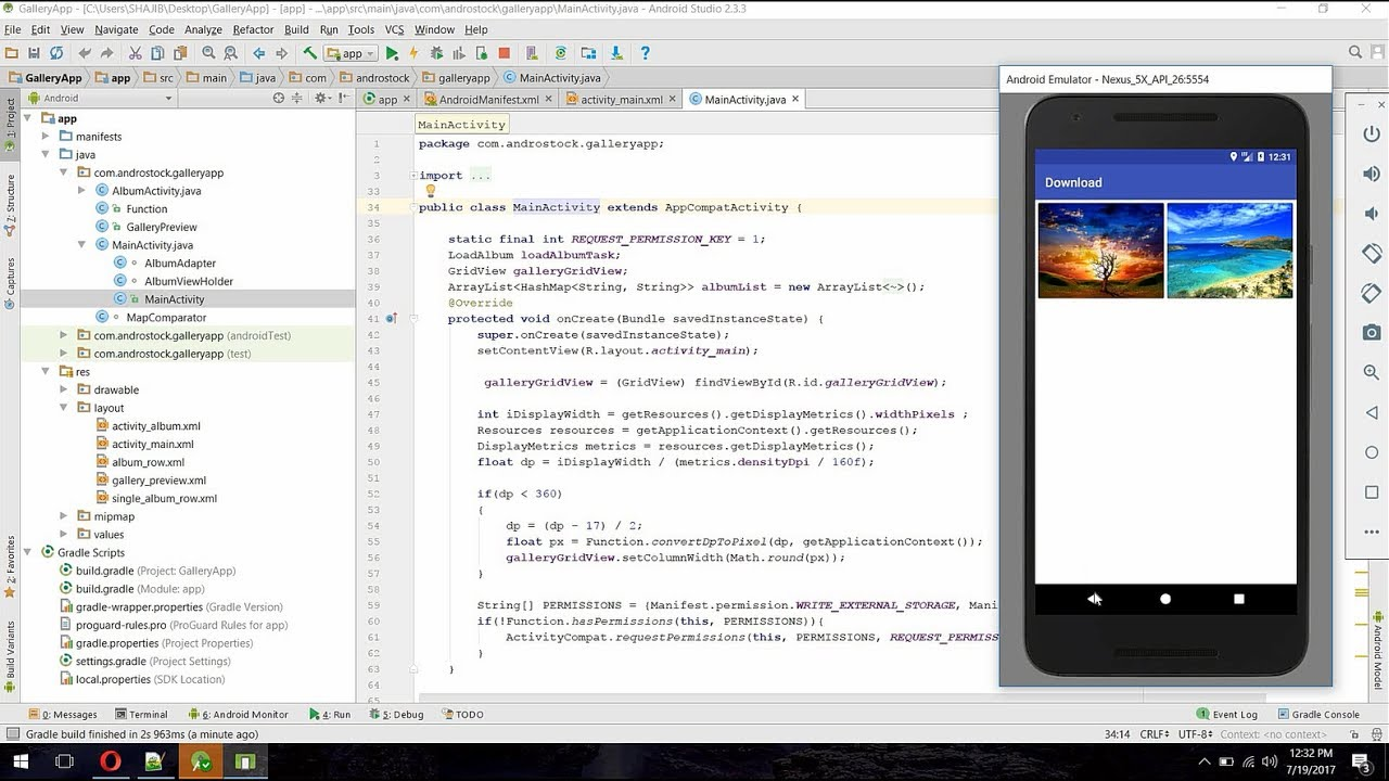 Create a Photo Gallery App in Android - Android Studio