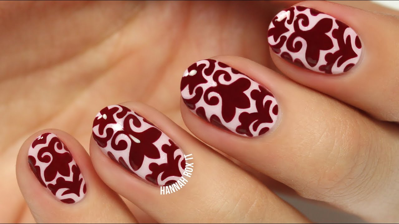 Classy Brocade Nail Art Freehand Youtube