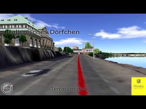 Dresden-Marathon (ab 2016) - Streckenverlauf im 3D-Stadtmodell