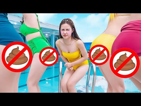 TRY NOT TO LAUGH GIRL FART PRANK BATTLE NERF GUNS | Funny Jackpot Girl In Swimming Pool TL Nerf War