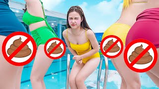 TRY NOT TO LAUGH GIRL FART PRANK BATTLE NERF GUNS   Funny Jackpot Girl In Swimming Pool TL Nerf War