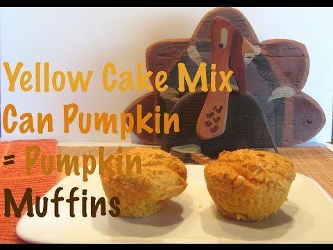 Yellow Cake Mix And A Can Of Pumpkin Make Pumpkin Muffins