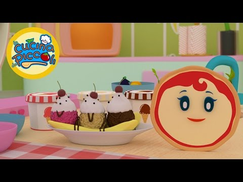 Cartoni animati per bambini: Pizza Margherita e banana split