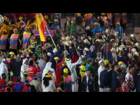 Rafael Nadal carrying the Spanish flag Rio 2016 Opening Ceremony
