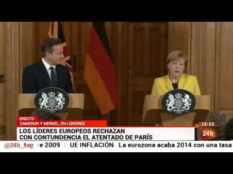 Rueda de prensa de David Cameron y Angela Merkel tras el atentado de Charlie Hebdo