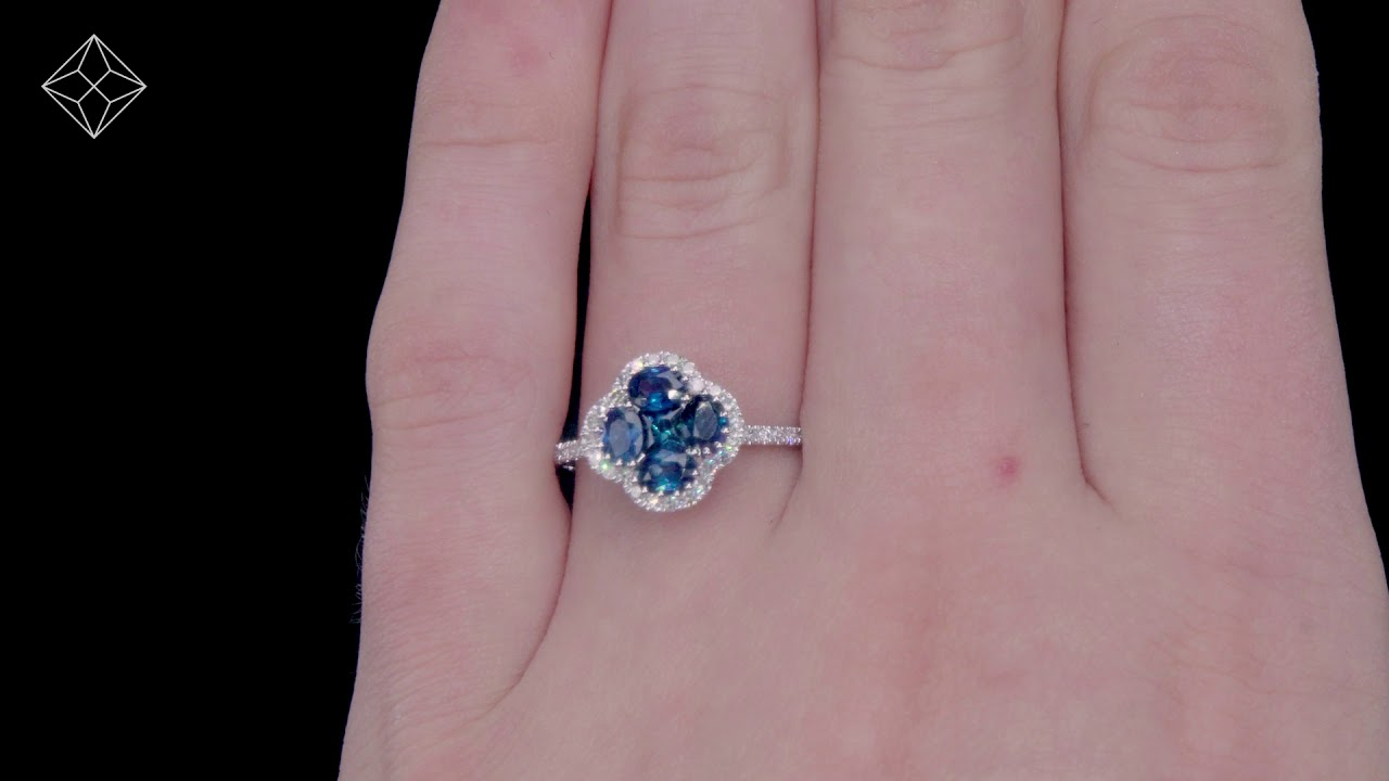 Sapphire 1.31ct and Diamond 18K White Gold Alegria Ring