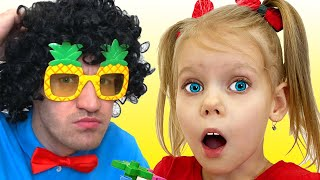 Vitalina and her fun games with dad at home!