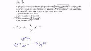 А8 ЕГЭ по физике.Идеальный газ. Видео урок(В результате охлаждения разреженного одноатомного газа средняя кинетическая энергия теплового движения..., 2011-06-09T17:58:25.000Z)
