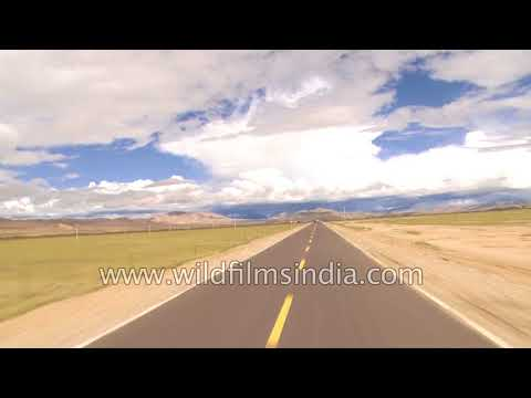 Road journey to Mansarovar in Tibet autonomous region of Chi