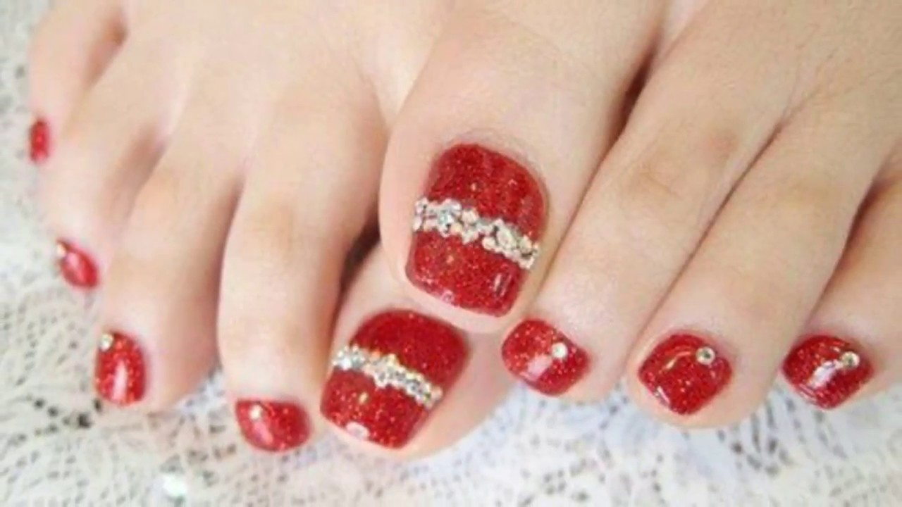 Christmas toe nail art designs - YouTube