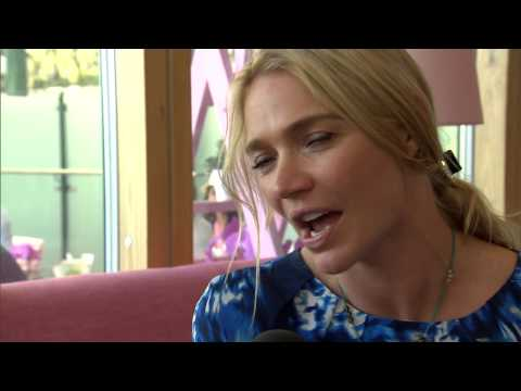 Jodie Kidd in the Evian Lounge