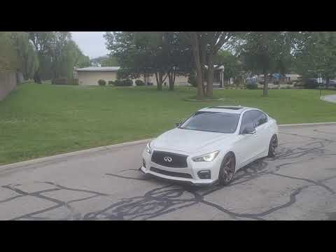 Infiniti Q50 with Motordyne exhaust AMS lower downpipes