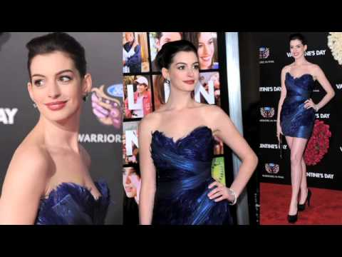 Anne Hathaway In Marchesa At Valentine S Day Movie Premier Youtube