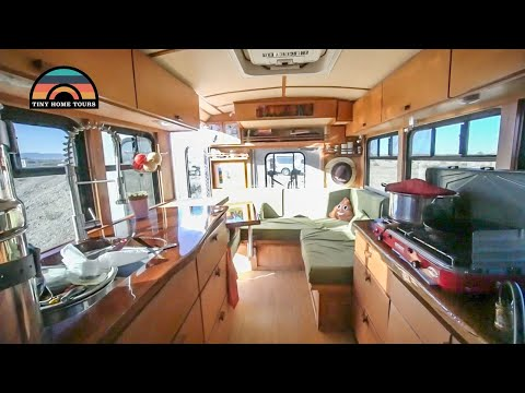 Shuttle Bus Tiny Home Conversion - Full Tour - Better Platform Than Sprinter Van?
