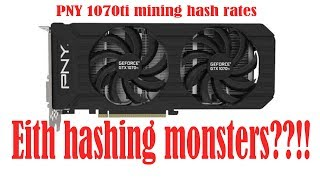 PNY 1070ti Mining Hash rates, Eith Monsters !? Video