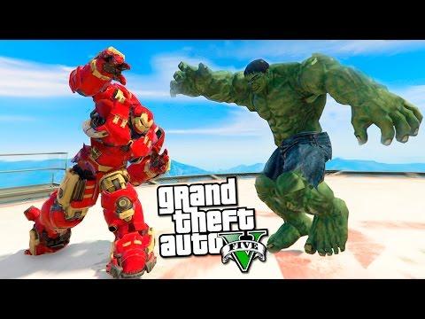 GTA 5 Моды: ХАЛК (HULK) VS ЖЕЛЕЗНЫЙ ЧЕЛОВЕК(IRON MAN) - Мстители