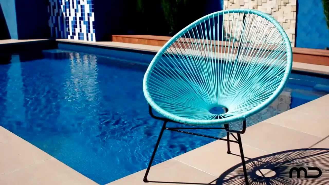 Acapulco Lounge Chair Replica - Outdoor Wicker - Light Blue - Milan Direct UK - YouTube