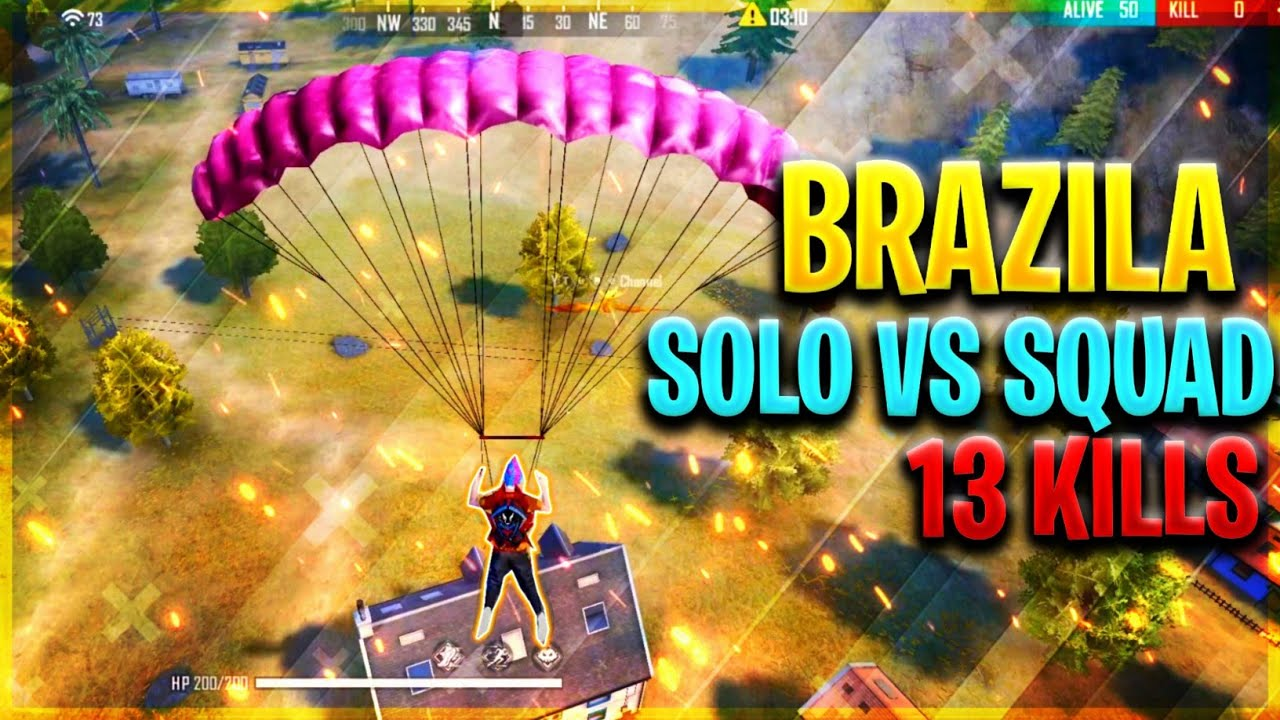 Solo vs Squad Full Match Gameplay | Brazila 13 Kills - Garena Free Fire 🔥