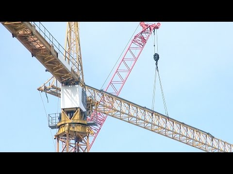 Tower crane #3 rises: Time-lapse compilation of assembly fro