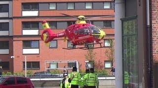 Midlands Air Ambulance (G-HWAA)   Lands at Birmingham Children's Hospital