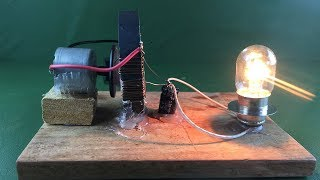 Electric free energy  Using Dc motor  With Light Bulb 100% |Science experiment project at Home