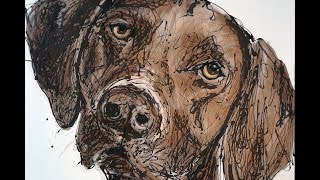 Freddie Valdez - German Shorthaired Pointer Drip Painting